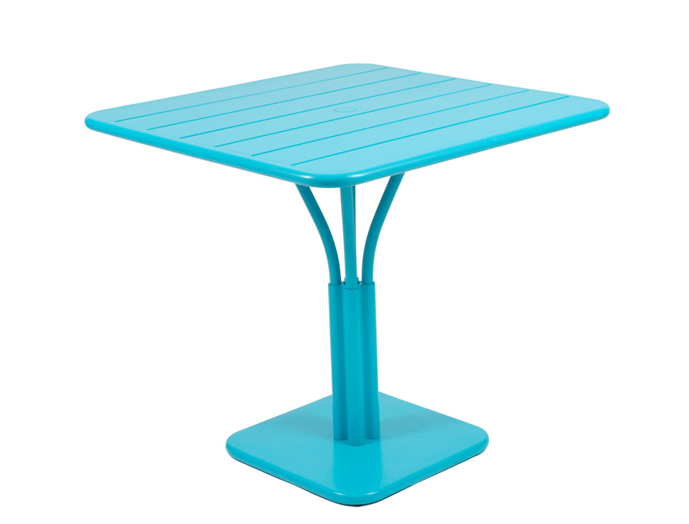 Luxembourg table 80 x 80 with 1 leg – Turquoise Blue